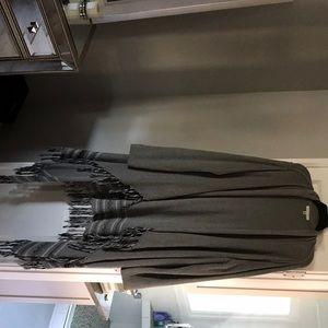 Cabi long sweater, gray, fringe XL